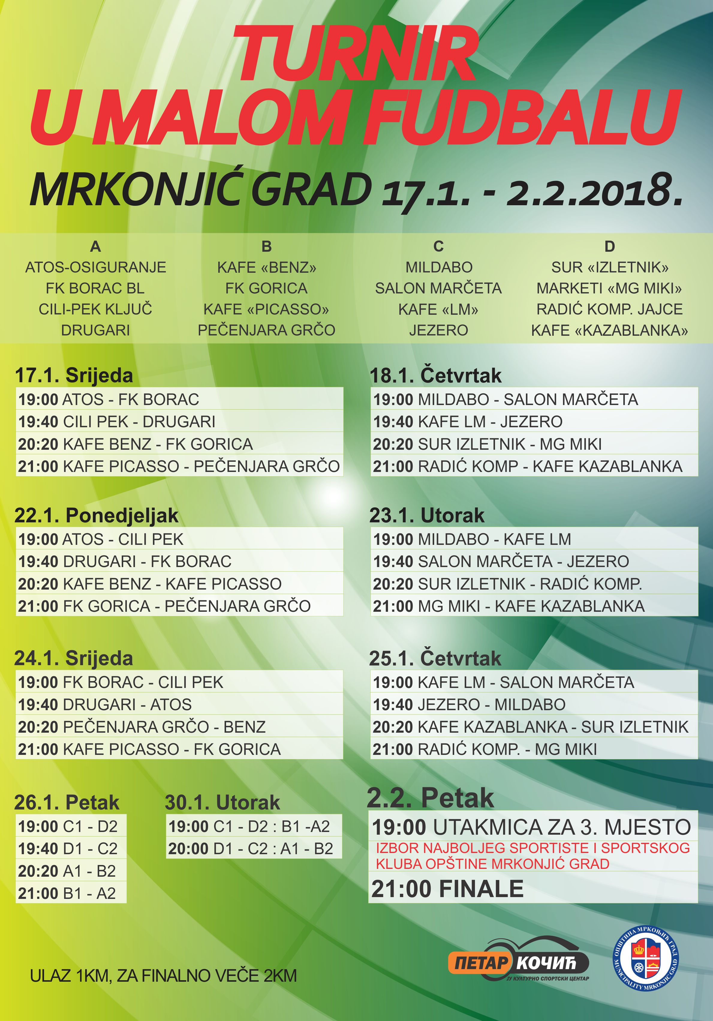 Турнир у малом фудбалу Мркоњић Град - распоред утакмица