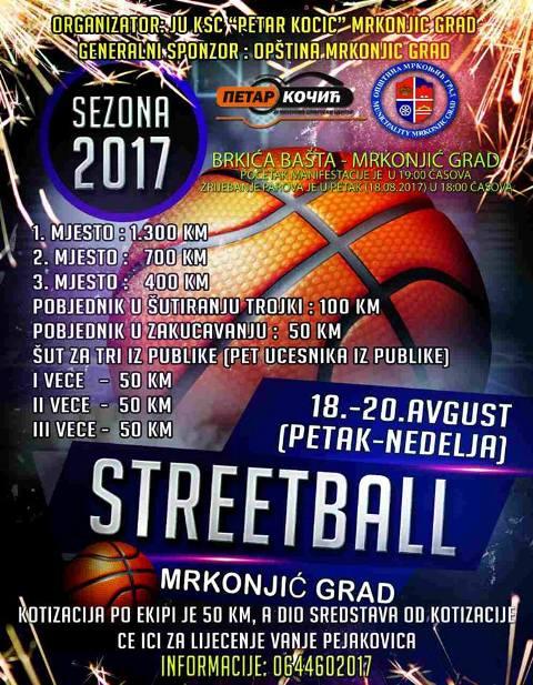 "Вечерас почиње кошаркашки турнир ""STREETBALL 2017"""